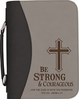 Be Strong & Courageous Bible Cover, Black and Gray, Large