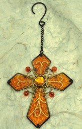 Glass Hanging Cross, Gold