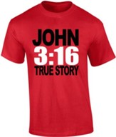 JOHN 3:16, True Story Shirt, Red, Large