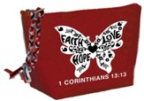 Faith, Hope, Love, Butterfly Cosmetic Bag