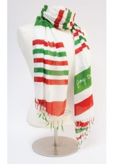 Good Tidings Scarf, Red, and White, Green