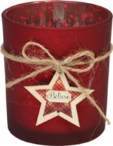 Believe Glass Votive, Red