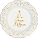 Joy, Hope, Peace, Believe, Faith Round Serving Plate