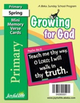 Growing for God Primary (Grades 1-2) Mini Memory  Verse Cards