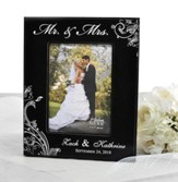 Personalized, Mr. & Mrs. Photo Frame, Scroll, Black