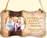 Personalized, Two Hearts One Love, Hanging Photo Plaque, Tan