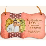 Personalized, Two Hearts One Love, Hanging Photo Plaque, Pink