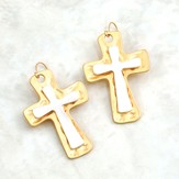 Cross Earrings, Gold and Silver Matte Finish