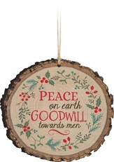 Peace On Earth, Holly, Bark Ornament