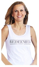 Redeemed Tank Top for Women, White and Black, Extra Small