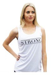 Strong Tank Top for Women, White and Black, Extra Small