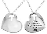 Heart w/ Cross Cut Out Rhodium Plated- I Corinthians 13:8