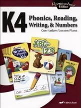 Abeka Homeschool K4 Phonics,  Reading, Writing & Numbers  Curriculum Lesson Plans