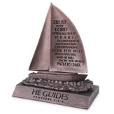 He Guides, Trust In the Lord,  Sailboat Sculpture, Small