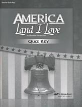 Abeka America: Land I Love Quizzes Key (Updated Edition)