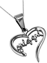 Girl of God Handwriting Heart Necklace