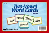 K4-K5 Two-Vowel Word Cards (100 cards)