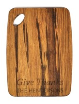 Personalized, Tiger Wood Cutting Board, Give Thanks,  Small