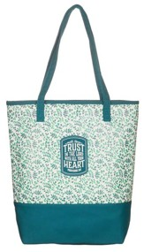 Trust in the Lord, Teal Tote Bag