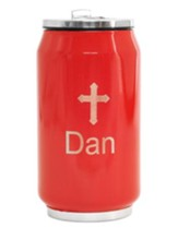 Personalized, Soda Can with Cross, Red