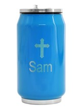 Personalized, Soda Can with Cross, Blue