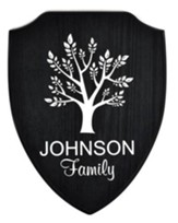 Personalized, Shield Plaque, with Tree, Black