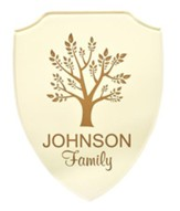 Personalized, Shield Plaque, with Tree, White