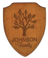 Personalized, Shield Plaque, with Tree, Cherry