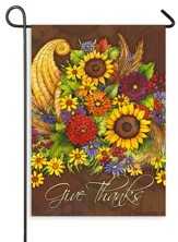 Give Thanks, Floral Cornucopia, Flag, Small