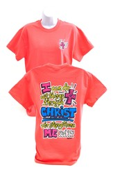 Girly Grace Strength Shirt, Coral,  Large