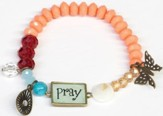 Beaded Bracelet with Butterfly Charm, Pray, Coral