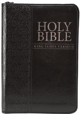 KJV Mini Pocket Bible--soft leather-look, black with zipper