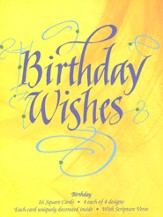 Happy Birthday Wishes Cards, Box of 16