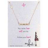 Love Never Fails, Bar Necklace, Gold