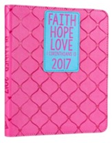 2017 Faith, Hope, Love Planner, LuxLeather, Pink Medium