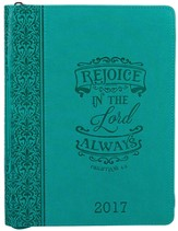 2017 Rejoice In The Lord Planner, LuxLeather, Turquoise, Large