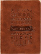 Be Strong & Courageous Journal, LuxLeather, Brown