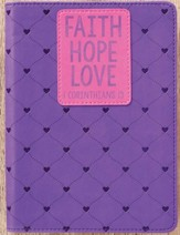 Faith, Hope, Love Journal, LuxLeather, Purple