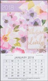 2018 Whatever Is Lovely, Mini Magnetic Calendar