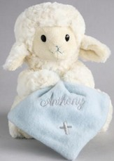 Musical Lamb, Jesus Loves Me, with Blanket, Blue