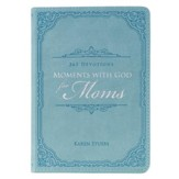 Moments With God for Moms: 365 Devotions, Lux Leather, Blue