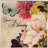 You Are A Blessing Glass Tray with Floral Design