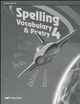 Abeka Spelling, Vocabulary, & Poetry 4 Student Test Book Key