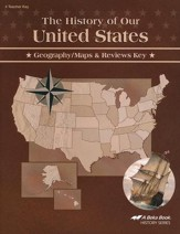Abeka The History of Our United  States Geography/Maps &  Reviews Key