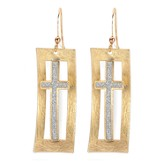 Two Tone Framed Cross Earrings