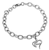 True Love Waits Handwriting Heart Bracelet, Adjustable