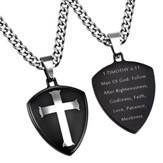 Man of God Shield Cross Necklace, Black