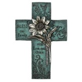 Floral Wall Cross, Turquoise