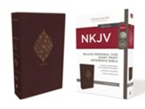 NKJV Comfort Print Deluxe Reference Bible, Personal Size Giant Print, Imitation Leather, Burgundy, Indexed - Imperfectly Imprinted Bibles