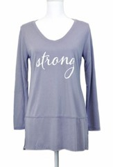 Strong, Long Sleeve Shirt, Gray, Medium